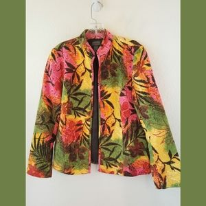 Chico's Additions Floral Cotton Jacket Sz 0 Small